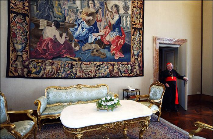 The inside of the guest house where Pope Francis lives. The house in beautiful, but small and far fr