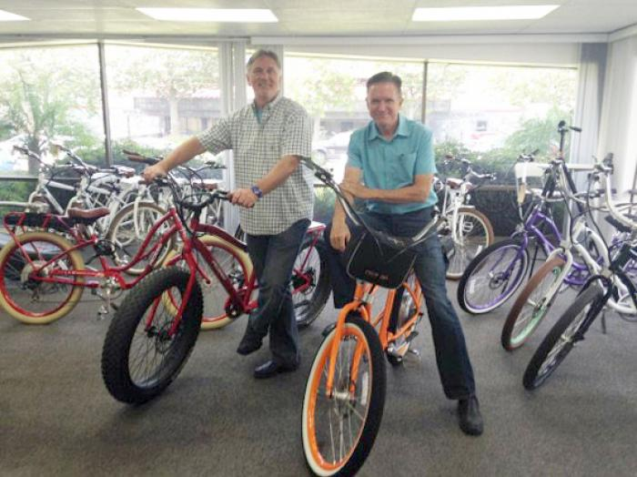 Don DiCostanzo (left), CEO/co-founder, and Terry Sherry, CFO/co-founder, of Pedego Electric Bikes.