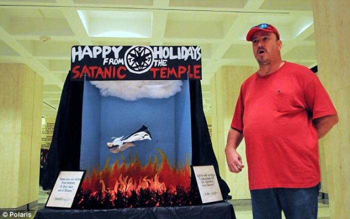 The infamous Satanic display, intended to antagonize Christians.