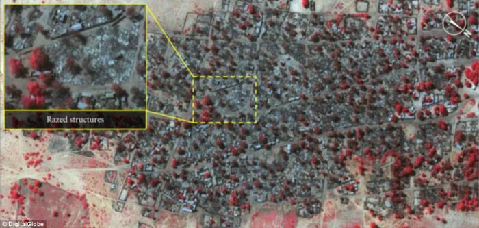 Satellite image of after Boko Haram attack in Doron Baga