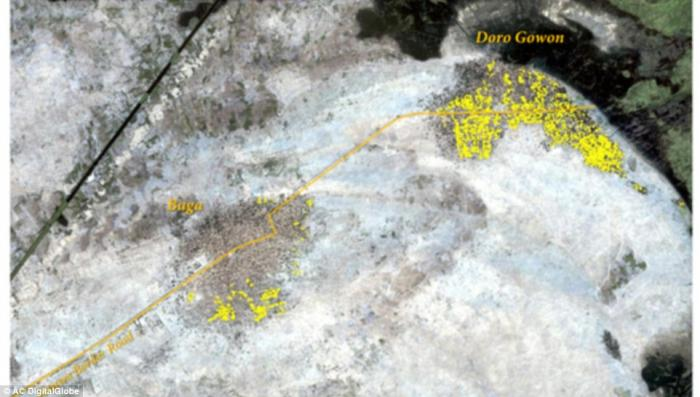 Yellow area of destruction in satellite image after Boko Haram attack