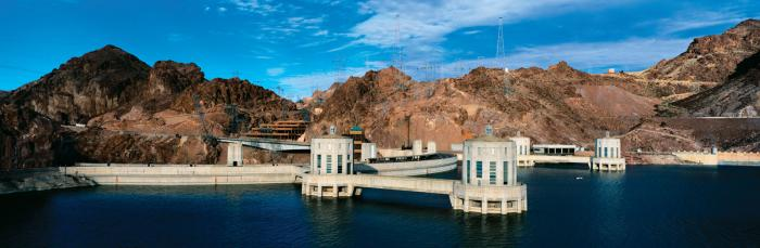 Hoover Dam's intake towers are mostly submerged (as they are designed to be) when lake Mede is full.