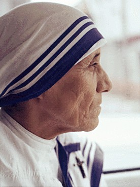 Mother Teresa looking in the distance
