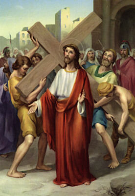 Image of Second Station: Jesus carries His cross