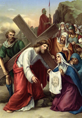 Image of Sixth Station: Veronica wipes the face of Jesus